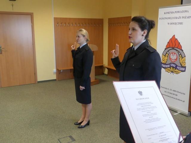 Uroczyste ślubowanie strażaków w Komendzie Powiatowej PSP w Oświęcimiu