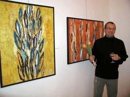 Dariusz Pala podczas wernisażu wystawy swoich prac. Foto: ZBIGNIEW BURDA