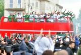 Wielkie świętowanie sukcesu Radomiaka na Placu Jagiellońskim w Radomiu - zdjęcia film