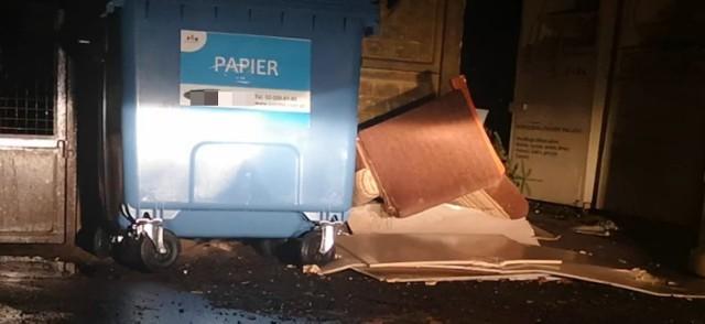 Kadr z filmiku, nagranego przez mieszkańców bloku. Przy wejściu do śmietnika, po lewej stronie, widać szczura. Kolejne schowały się pod makulaturą i pojemnikiem