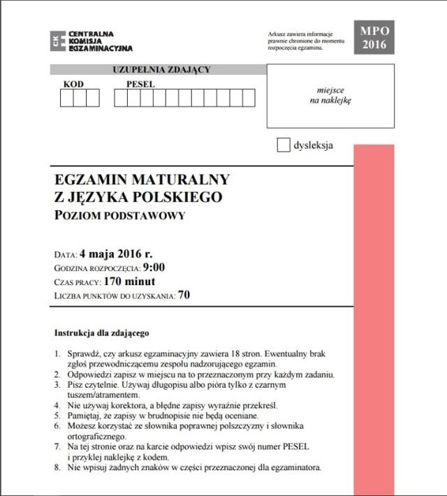 Matura 2016 Polski Podstawowy Arkusze Odpowiedzi