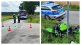 Wypadek w powiecie radziejowskim. Zderzenie toyoty, która wymusiła pierwszeństwo z motocyklistą bez uprawnień [zdjęcia]