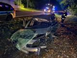 """Wypadek pod Bydgoszczą. Świadkowie: """"Kierowca z ranami głowy uciekł do lasu"""". Jego poszukiwania trwają"""