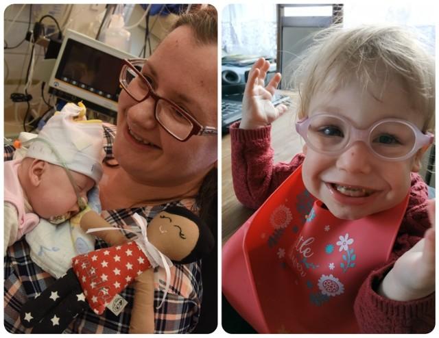 Po lewej: Maleńka Dominika z mamą jeszcze w szpitalu. Po prawej: tak wygląda Dominisia obecnie!