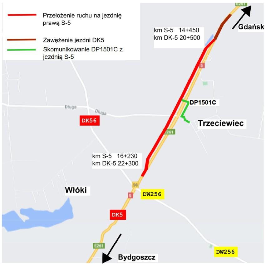Budowa drogi S5 Dworzysko – Aleksandrowo. Zmiana w organizacji ruchu