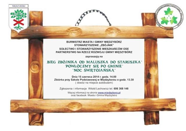 Plakat ilustrujący zaproszenie na Bieg Zbójnika w Międzyborzu