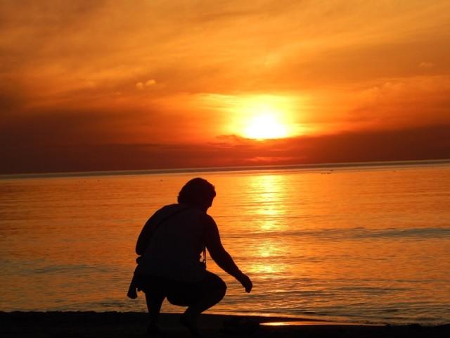 Zachód słońca w Ustce, maj 2021.