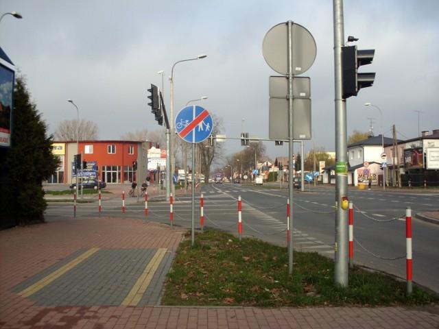 Skrzyżowanie ulicy Legionów z ulicą Piłsudskiego.
