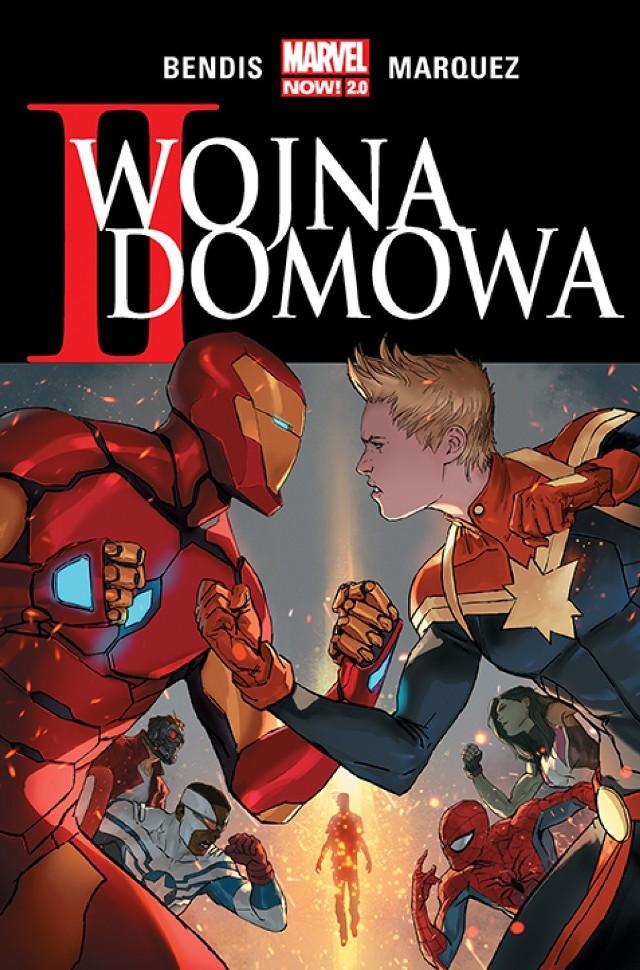 Marvel Now 2.0, II wojna domowa  Scenariusz: Brian Michael Bendis Rysunki: David Marquez Przekład: Marek Starosta  Oprawa: miękka ze skrzydełkami Objętość: 288 stron Format: 167x255 Cena: 69,99 ISBN: 978-83-281-4209-1 Język oryginału: angielski Seria: Marvel Now 2.0 Kategoria: komiks amerykański Tematyka: superbohaterowie  Czy można aresztować ludzi za zbrodnie, które dopiero popełnią? Przed takim dylematem staną najpotężniejsi ziemscy bohaterowie, gdy spotkają Ulyssesa – przedstawiciela rasy Inhumans, który potrafi przewidywać przyszłość. Iron Man opowie się za wolną wolą, ale Kapitan Marvel spróbuje wykorzystać dar jasnowidza do zapewnienia światu bezpieczeństwa. Wkrótce oboje stracą najbliższych, a konflikt się zaostrzy i zyska wymiar osobisty. Czy społeczność superbohaterów przetrwa kolejną wojnę domową?  Twórcami tej opowieści są scenarzysta Brian Michael Bendis, znany m.in. z serii Daredevil: Nieustraszony! i Ultimate Spider-Man, oraz rysownik David Marquez, autor ilustracji do All-New X-Men i Niezwyciężonego Iron Mana.