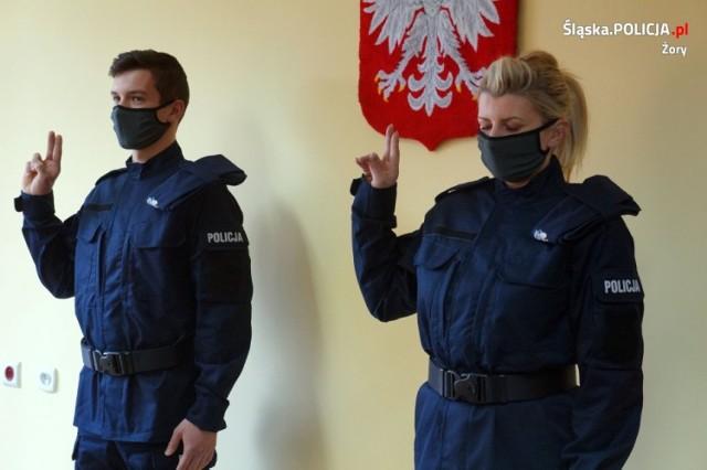 Nowi policjanci złożyli przysięgę w Komendzie Miejskiej Policji w Żorach