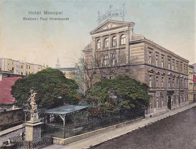 Hotel Monopol w Oppeln - pocztówka z 1910 roku.