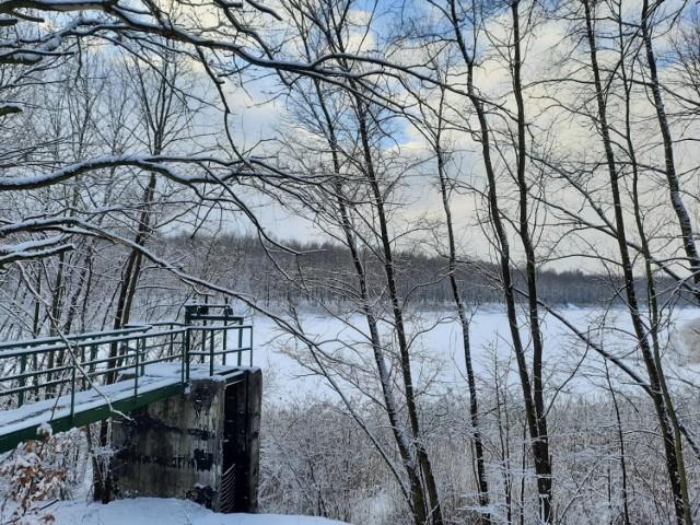 Dolina Trzech Stawów w Katowicach w zimowejodsłonie. 13 stycznia 2021roku