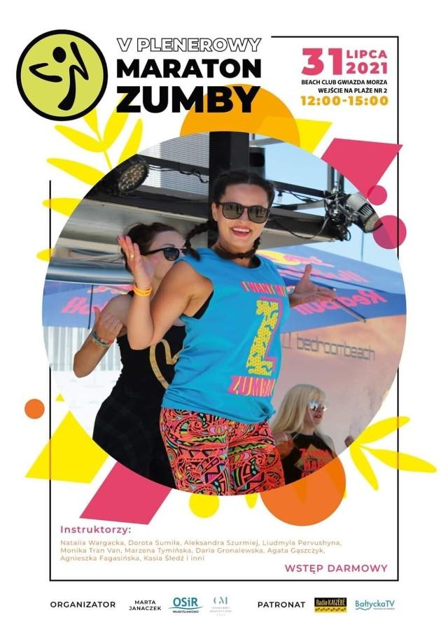 W sobotę 31 lipca w godz. 12-15 5. edycja Plenerowego Marartonu Zumby (Beach Club Gwiazda Morza). Chętni spotykają się na plaży we Władysławowie, wejście na plażę nr 2.