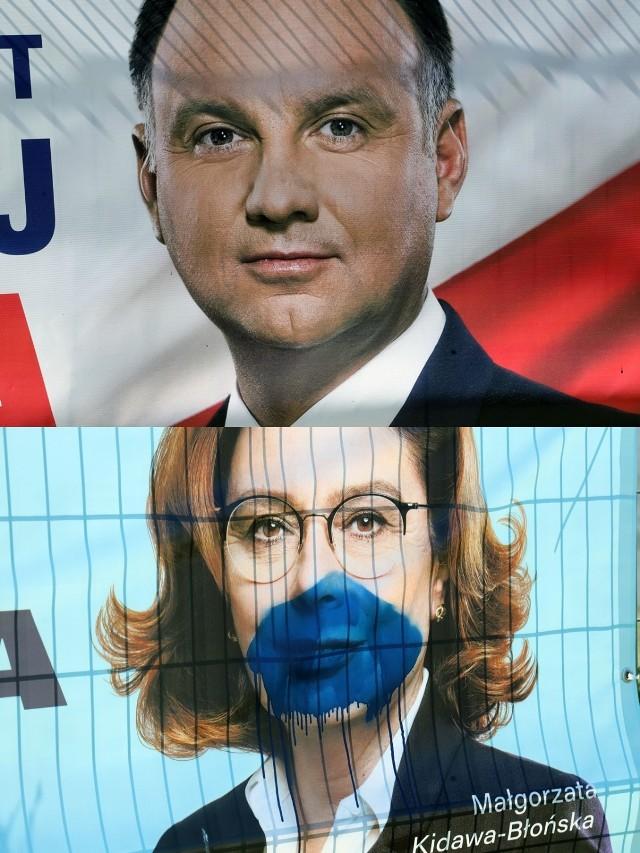 Wandale oszczędzili wizerunek prezydenta Andrzeja Dudy.