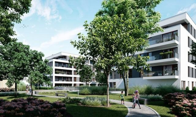 W nowoczesnych czteropiętrowych budynkach zaprojektowano duże balkony lub tarasy na piętrach i ogródki na parterze.