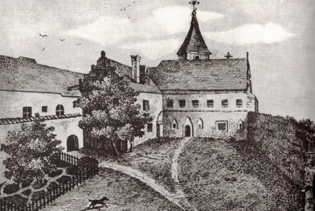 Dziedziniec Klasztoru Klarysek. Litografia według rysunku Karola F. Neya z 1843 r.