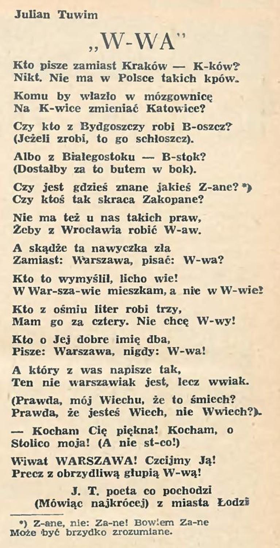 Warszawa Warszawka Czy W Wa Na Inne Określenia Narzekał
