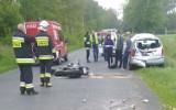 STRAŻACY W AKCJI: Groźny wypadek na drodze z udziałem motocyklisty [ZDJĘCIA]