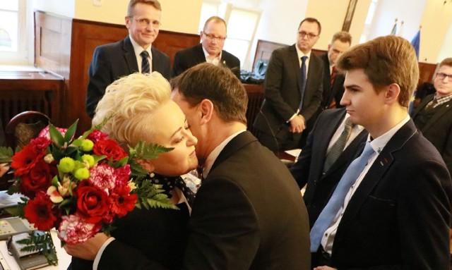 Jako pierwszy gratulacje Katarzynie Budych złożył Paweł Czop.