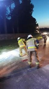 Dobrzyca. Strażacy sprzątali drogę z rozsypanego tłucznia