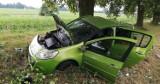 Kolizja koło Reblina. Auto wjechało do rowu i uderzyło w drzewo [ZDJĘCIA]