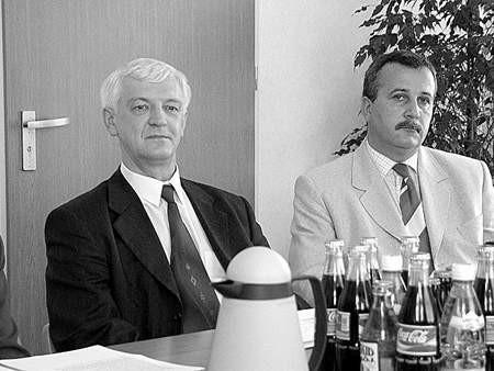 Marian Nierychły i Jarosław Garnek odpowiadali na pytania dziennikarzy.