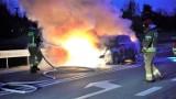 Pożar auta na drodze wjazdowej do Szubina od strony Bydgoszczy [zdjęcia]