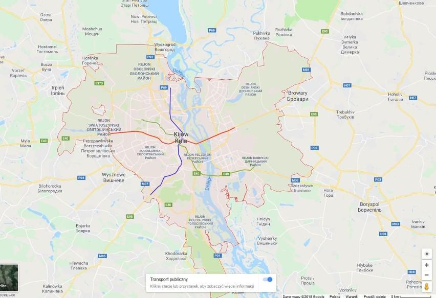 W Kijowie są trzy linie metra o łącznej długości ok. 66...