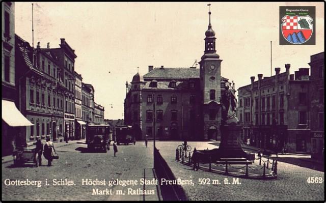 Boguszowski rynek - najwyżej położony w Polsce na starych pocztówkach