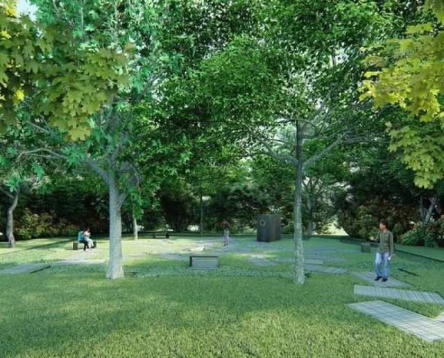 Wizualizacja Parku Pamięci Wielkiej Synagogi (NArchitukTURA oraz Imaginga Studio)