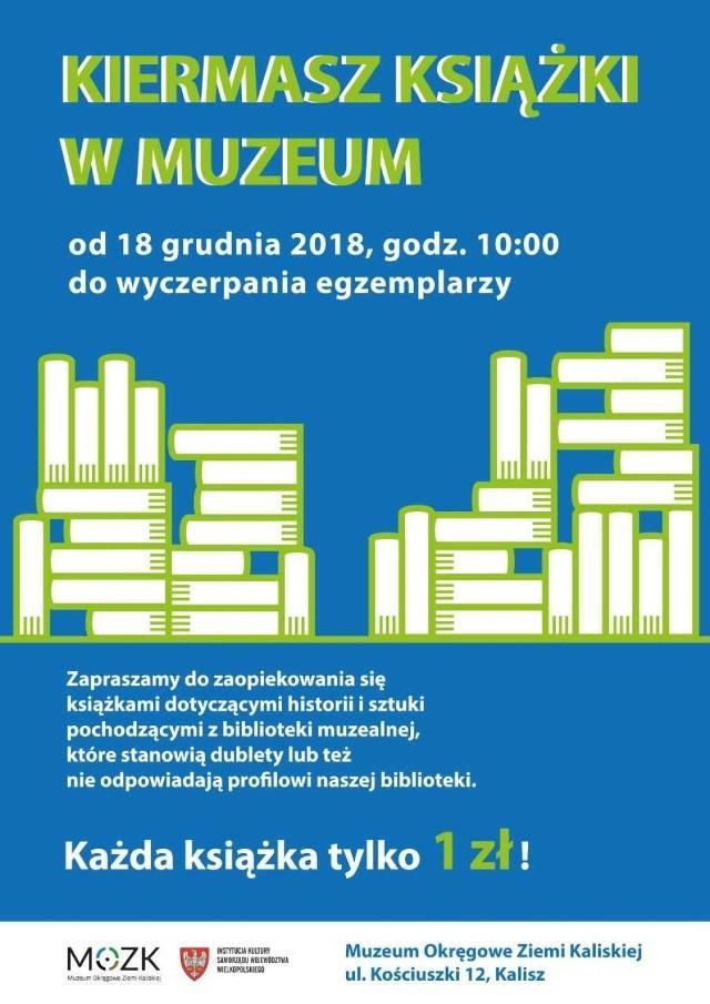 Muzeum Okręgowe Ziemi Kaliskiej zaprasza na kiermasz książek