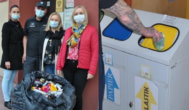 Więźniowie segregują odpady i zbierają nakrętki