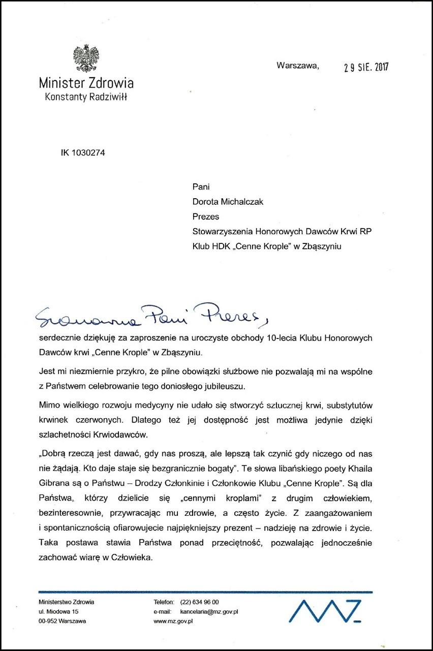 """Klub HDK Cenne Krople  """"Zasłużony dla Gminy Zbąszyń"""""""