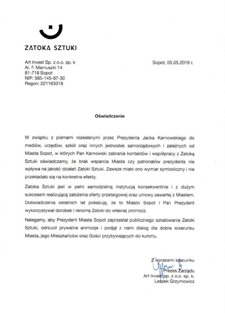 Sopot zerwał współpracę z Zatoką Sztuki  Druga strona