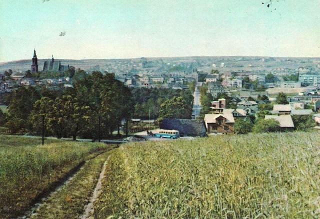 Jedno z najbardziej charakterystycznych ujęć panoramicznych Olkusza. W tym przypadku sprzed ponad pół wieku na pocztówce wydanej przez RUCH w latach 1966-67