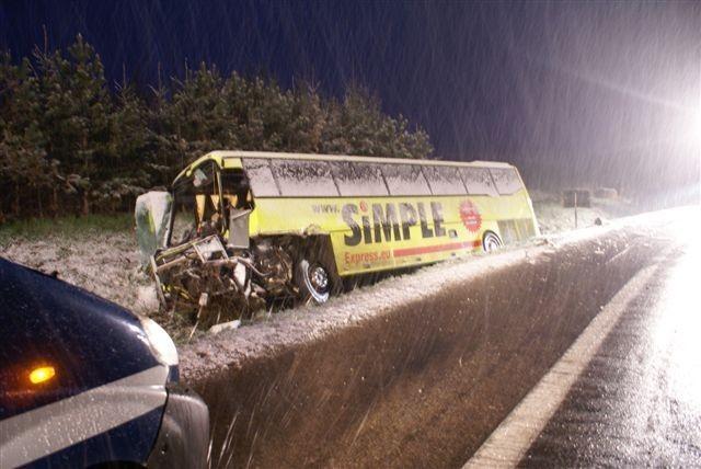 Wypadek autokaru pod Suwałkami