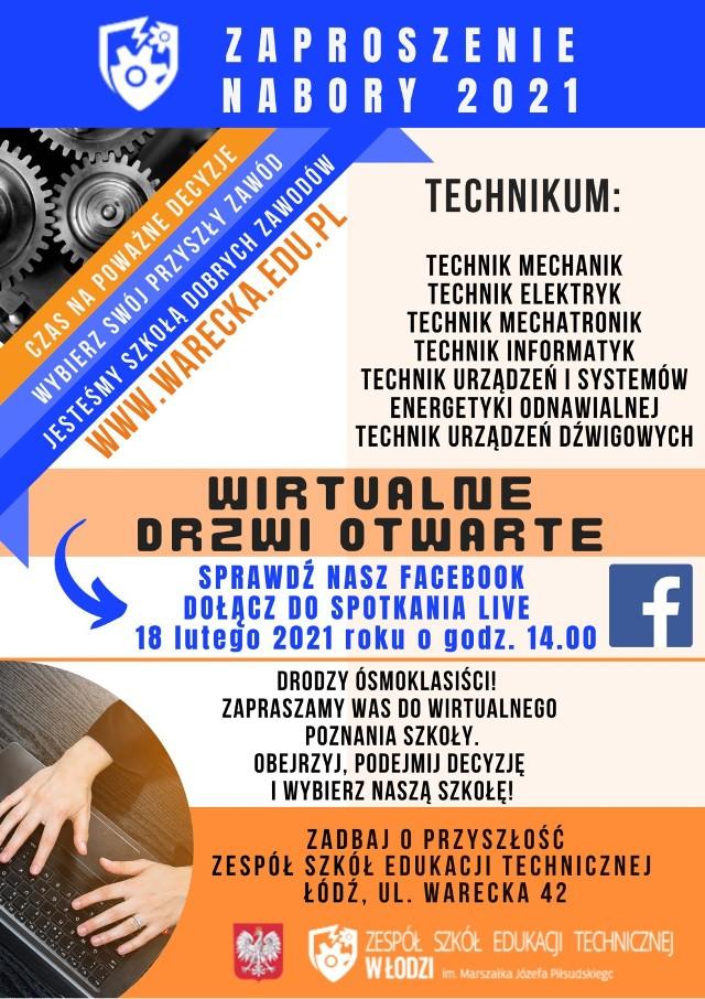 Zespół Szkół Edukacji Technicznej w Łodzi już 18 lutego 2021 przeprowadzi wirtualne dni drzwi otwartych. Z ofertą szkoły można będzie zapoznać się bliżej dzięki transmisji live, która odbędzie się na facebook. Już teraz ZSET opublikował listę specjalizacji technicznych.