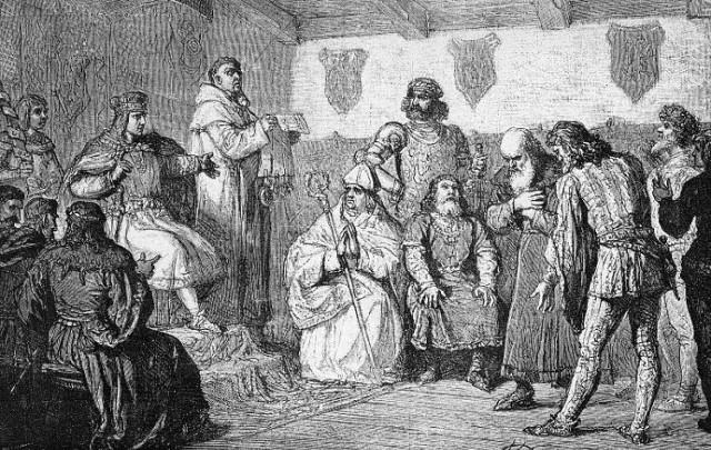 XIX-wieczna rycina wykonana według obrazu Wojciecha Gersona. Książę mazowiecki Janusz I (siedzi z lewej) nadaje przywilej lokacyjny Warszawie w 1413 r. Można przypuszczać, że podobnie wyglądało nadanie Łomży przywileju miejskiego chełmińskiego w 1418 r.