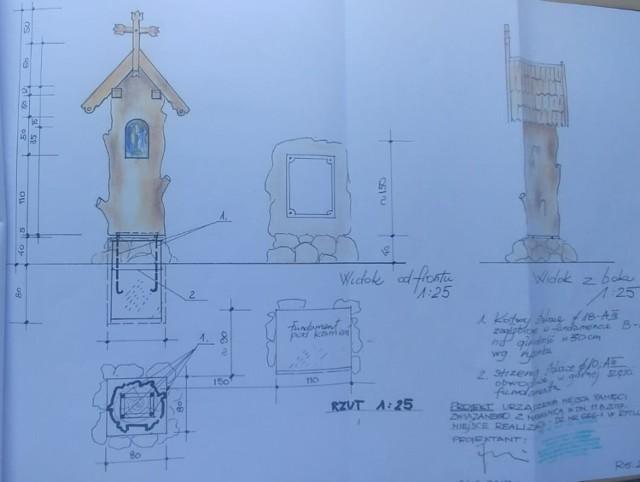 Strona z projektu utworzenia Miejsce Pamięci Nawałnicy z kapliczką autorstwa Jana Sabiniarza