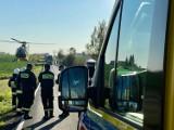 Poważny wypadek pod Kowalewem Pomorskim, śmigłowiec w akcji