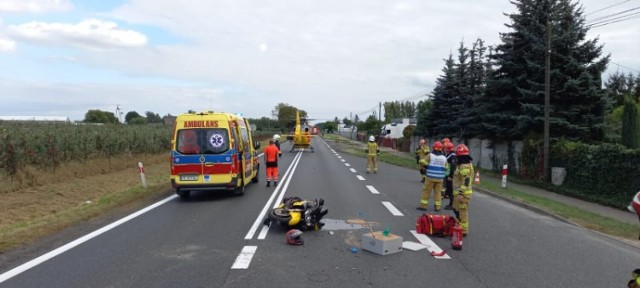 Wypadek w Opatówku z udziałem motocyklisty