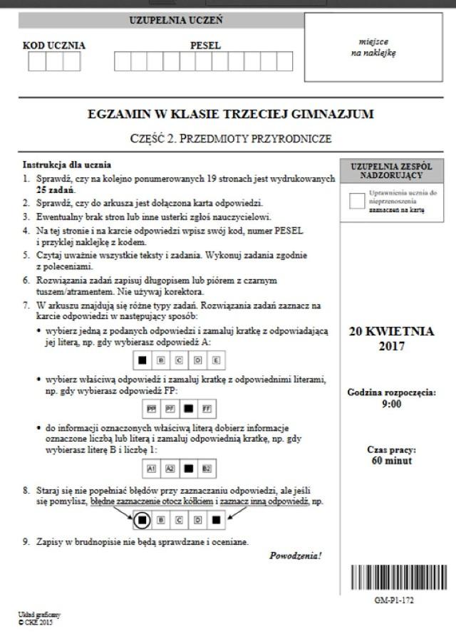 Egzamin gimnazjalny 2017: część matematyczno-przyrodnicza Odpowiedzi, Arkusze, Zadania, Rozwiązania