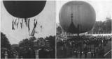 Te fotografie Zielonej Góry mają ponad 100 lat! Uchwycono na nich wydarzenie, które zgromadziło tłumy - przelot balonu