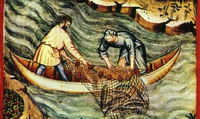 Rybacy łodziowi na rycinie z XIV w. W podobny sposób prezentowali się ci, którzy w średniowieczu wyruszali na połowy śledziowe z kołobrzeskiej vitte