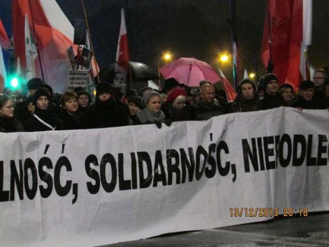 Członkowie myszkowskiej Solidarności na III Marszu Wolności, Solidarności i Równości