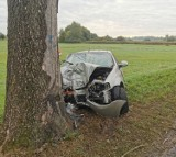 Gmina Kłecko. W niedzielny poranek samochód rozbił się na drzewie