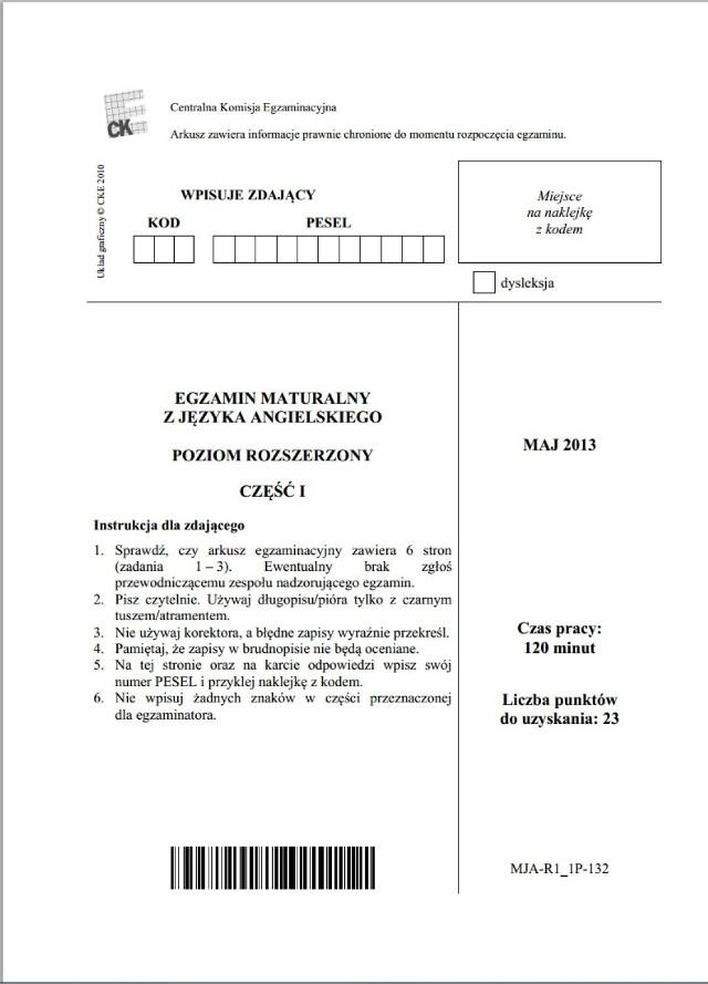Matura 2014 język angielski - poz. rozszerzony [PDF ARKUSZ , odpowiedzi]