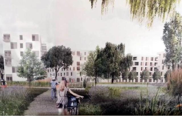 Według zwycięskiej koncepcji zespołu pod wodzą AMC nowe osiedle ma być zatopione w zieleni. - To będzie małe miasteczko, spójne i wielofunkcyjne. Przytulne gniazdo - zapowiadają projektanci.