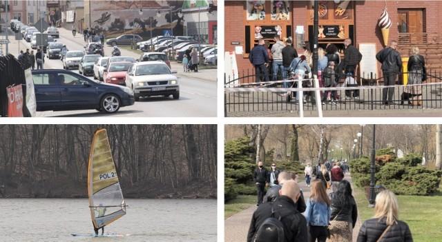 Ciepła wiosenna niedziela, 11 kwietnia, ściągnęła to Kruszwicy rzesze turystów. Trudno było o miejsce na parkingach. Przed lodziarniami ustawiały się długie kolejki