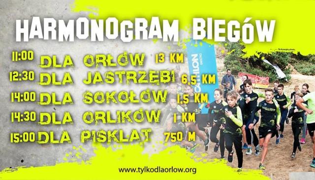"""""""Tylko dla orłów"""" będzie miało miejsce na terenie toru motocrossowego w Gnieźnie, 1 maja. Wydarzenie rozpocznie się już od godz. 11.00. Zobacz harmonogram biegów na plakacie."""